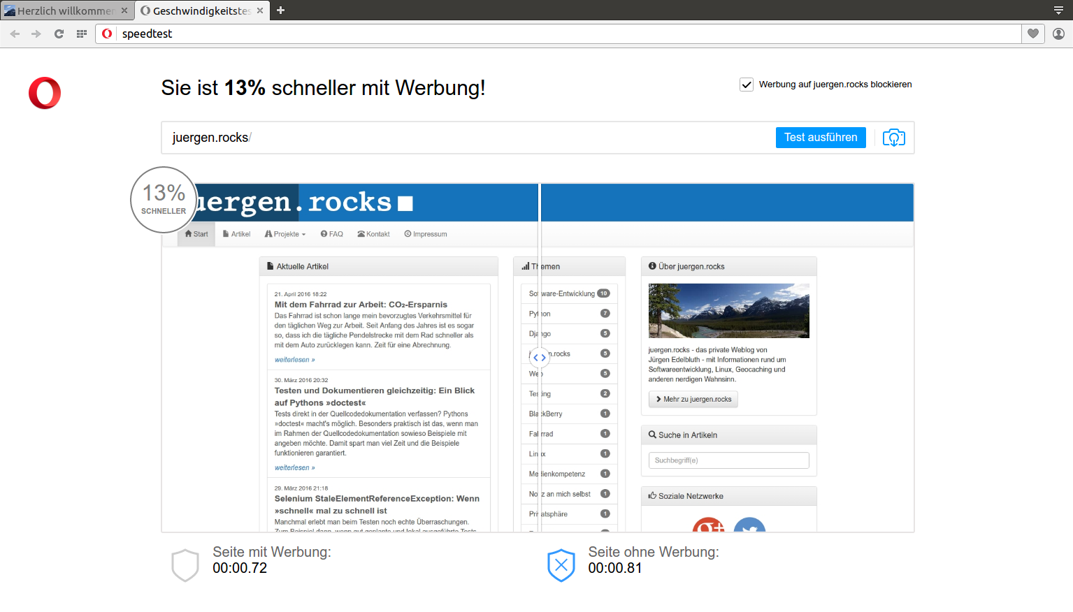 Ergebnis des Opera® Browser Adblocker Speedtests